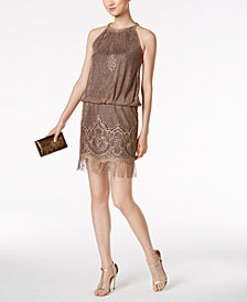SL Fashions Metallic Crochet Fringe Dress