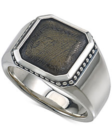 Esquire Men's Jewelry Meteorite Ring in Sterling Silver, Created for Macy's