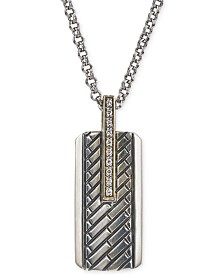 Esquire Men's Jewelry Diamond Dog Tag Pendant Necklace (1/10 ct. t.w.) in Sterling Silver & 14k Gold, Created for Macy's