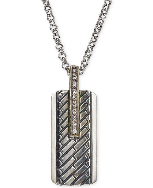 Esquire Men s Jewelry Diamond Dog Tag Pendant Necklace (1 10 ct. t.w.) d994f45c8