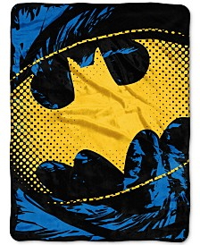 Warner Brothers Batman Ripped Shield Plush Micro-Raschel Throw