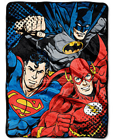 Warner Brothers Justice League League Trio Plush Micro-Raschel Throw