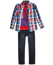 9872f5a98f55e Tommy Hilfiger Plaid Shirt, T-Shirt & Jeans Separates, Little Boys & Big