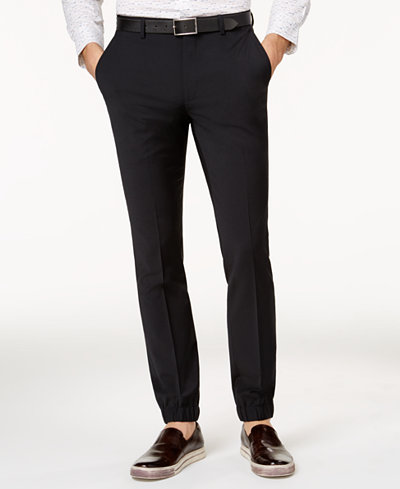 Bar III Men's Extra Slim-Fit Stretch Wrinkle-Resistant Black Jogger Pants, Created for Macy's