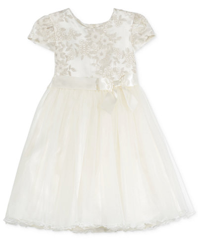 Bonnie Jean Floral-Embroidery Tulle Dress, Little Girls