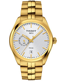 Tissot Women's Swiss PR100 Dual Time Gold-Tone Stainless Steel Bracelet Watch 39mm