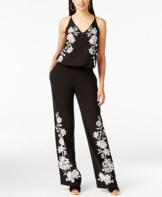 I.N.C. Floral-Appliqué Jumpsuit, Created for Macy's