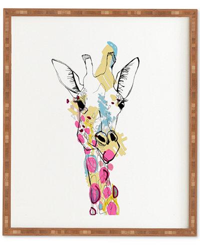 Deny Designs Casey Rogers Giraffe Color Bamboo-Framed Wall Art