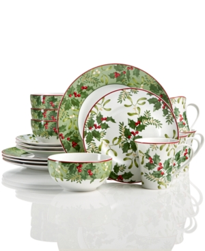 222 Fifth Christmas Foliage 12Pc Dinnerware Set Created for Macys