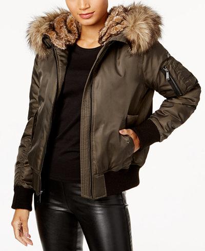 BCBGeneration Faux-Fur-Trim Bomber Coat - Coats - Women - Macy's