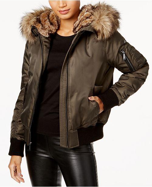 9daa6a55c808 BCBGeneration Faux-Fur-Trim Bomber Coat   Reviews - Coats - Women ...