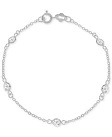 Giani Bernini Cubic Zirconia Ankle Bracelet in Sterling Silver, Created for Macy's