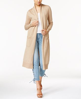 MICHAEL Michael Kors Open-Front Duster Cardigan - Sweaters - Women ...