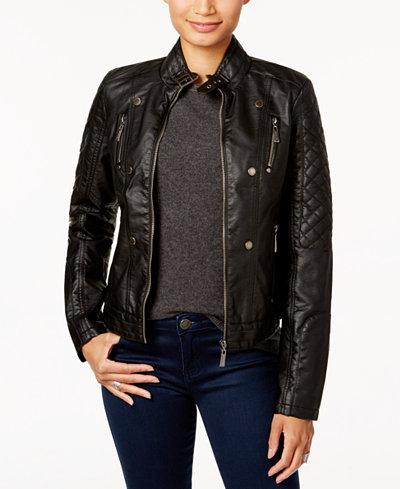 Jou Jou Juniors' Faux-Leather Jacket, A Macy's Exclusive