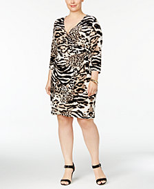 I.N.C. Plus Size Animal-Print Wrap Dress, Created for Macy's