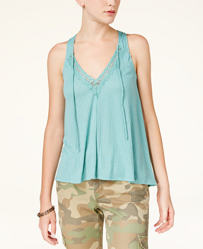 American Rag Juniors' Ribbed Lace-Collar Top, Created for Macy's
