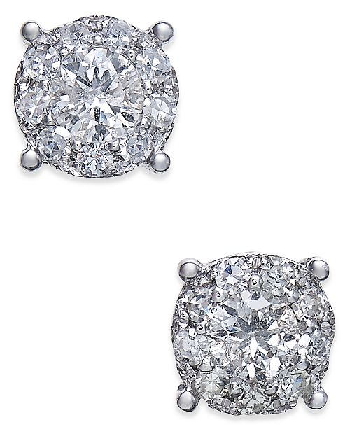 Macy's Diamond Halo Stud Earrings (1/2 ct. t.w.) in 14k White Gold
