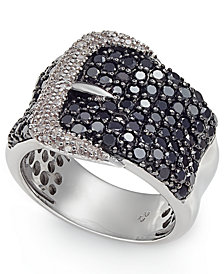 Diamond Belt Buckle Statement Ring (2 ct. t.w.) in Sterling Silver