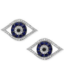 Royalé Blue by EFFY® Sapphire (1/4 ct. t.w.) & Diamond (1/3 ct. t.w.) Stud Earrings in 14k White Gold