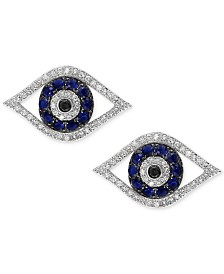 Royalé Blue by EFFY® Sapphire (1/4 ct. t.w.) & Diamond (1/3 ct. t.w.) Stud Earrings in 14k White Gold