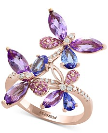 EFFY® Multi-Gemstone (2-3/8 ct. t.w.) & Diamond (1/8 ct. t.w.) Butterfly Ring in 14k Rose Gold