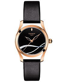 Tissot Women's Swiss T-Wave ll Black Leather Strap Watch 30mm