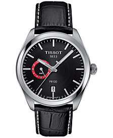 Tissot Men's Swiss PR100 Dual Time Black Leather Strap Watch 39mm