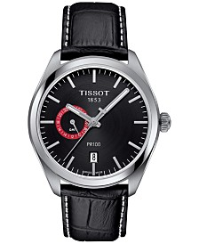 Tissot Men's Swiss PR100 Dual Time Black Leather Strap Watch 39mm