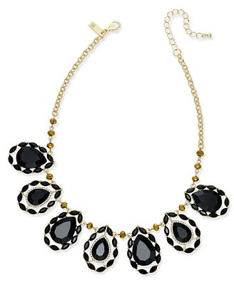 I.N.C. Gold-Tone Teardrop Stone Statement Necklace, Created for Macy's