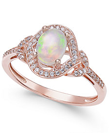 Opal (3/8 ct. t.w.) & Diamond (1/8 ct. t.w.) Ring in 14k Rose Gold