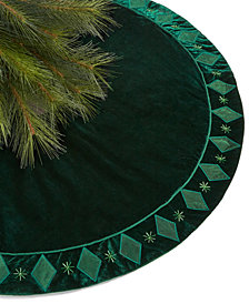 Holiday Lane Green Velvet Tree Skirt, Created for Macy's