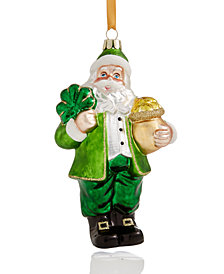 Holiday Lane Glass Irish Santa Ornament, Created for Macy's