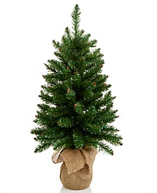 """Christmas Cheer 30""""H Green Tree with Red Berries and Snow Dusting, Created for Macys"""