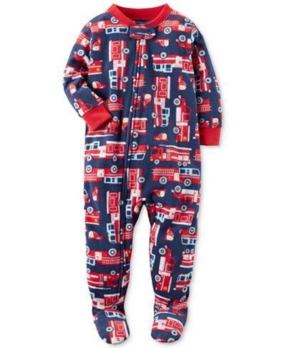 Carter's 1-Pc. Firetruck-Print Footed Pajamas, Baby Boys