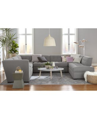 Roxanne II Performance Fabric 4-Pc. Modular Sofa with Bumper, Created for Macy's