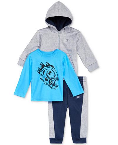 Champion 3-Pc. Zip-Up Hoodie, Graphic-Print T-Shirt & Jogger Pants Set, Baby Boys