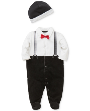 Little Me 2Pc Hat  Suspenders Footed Coverall Set Baby Boys (024 months)
