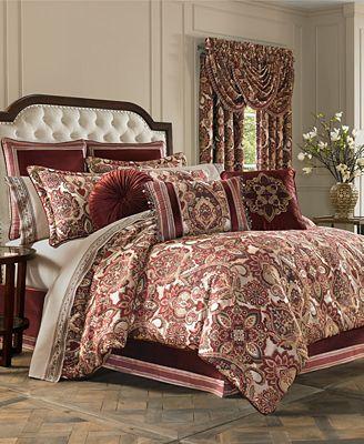 J Queen New York Rosewood Burgundy Comforter Sets Bedding