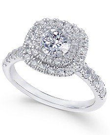 Diamond Double Halo Engagement Ring (1-1/2 ct. t.w.) in 14k white Gold