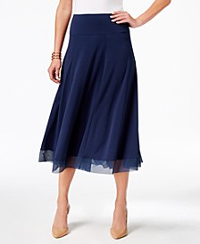 Petite Mesh-Hem A-Line Skirt, Created for Macy's