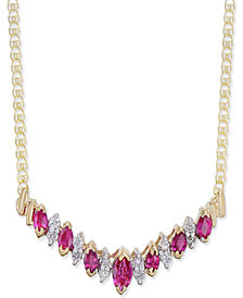 Ruby (1-1/10 ct. t.w.) & Diamond (1/5 ct. t.w.) Statement Necklace in 14k Gold