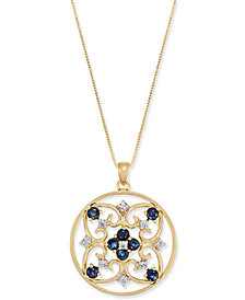 Sapphire (1-1/5 ct. t.w.) & Diamond (1/5 ct. t.w.) Openwork Disc Necklace in 14k Gold