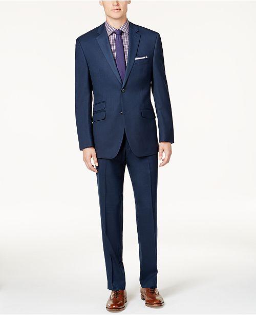 Perry Ellis Portfolio Men's Slim-Fit Blue Sharkskin Suit