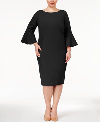 Calvin Klein Plus Size Bell Sleeve Sheath Dress Dresses
