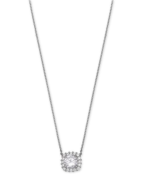 Giani Bernini Cubic Zirconia Halo Pendant Necklace in Sterling Silver, Created for Macy's