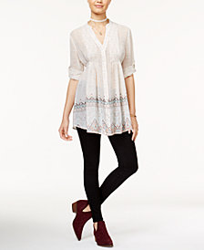 American Rag Juniors' Pintucked Blouse & Super-Skinny Jeans, Created for Macy's