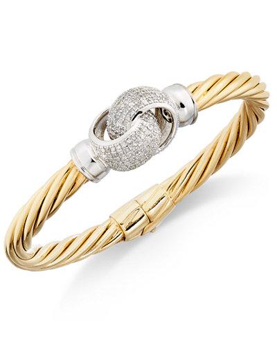 Diamond Pavé Interlocked Twist Bangle Bracelet (1 ct. t.w.) in 14k Gold-Plated Sterling Silver