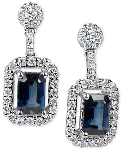 Sapphire (1-3/8 ct. t.w.) & Diamond (1/2 ct. t.w.) Drop Earrings in 14k White Gold