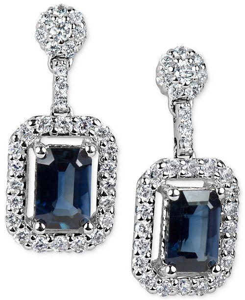Macy's Sapphire (1-3/8 ct. t.w.) & Diamond (1/2 ct. t.w.) Drop Earrings in 14k White Gold