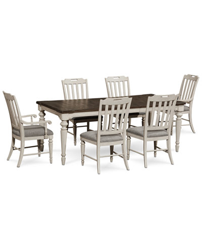 Barclay Expandable Dining Furniture, 7-Pc. Set (Dining Table, 4 Upholstered Side Chairs & 2 Upholstered Arm Chairs)